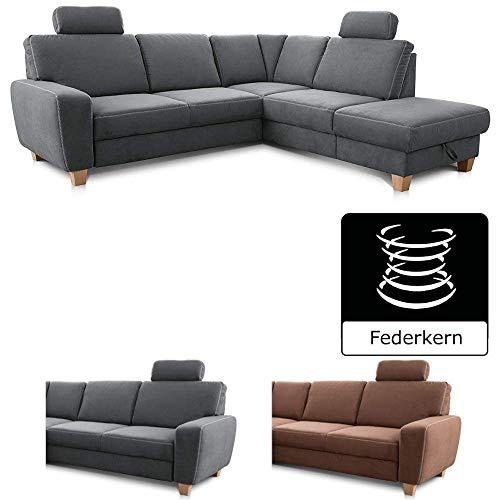 Cavadore Ecksofa Wisconsin mit Federkern / Eck-Couch mit 2 Kopfstützen / Landhausstil / Holzfüße in Buche / Mikrofaser / Größe: 248 x 88 x 215 cm (BxHxT) / Farbe: Grau