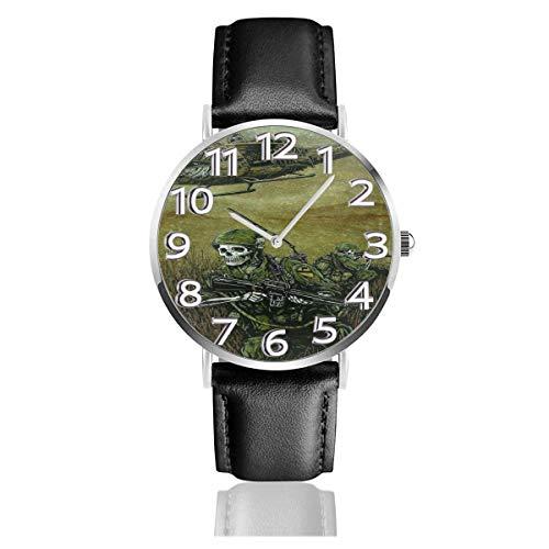 Reloj de Pulsera Aircraft Skull Military Durable PU Correa de Cuero Relojes de Negocios de Cuarzo Reloj de Pulsera Informal Unisex