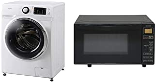【セット販売】アイリスオーヤマ ドラム式洗濯機 温水洗浄機能付き 左開き 幅595mm 奥行672mm 7.5kg FL71-W/W & 電子レンジ 18L フラットテーブル ヘルツフリー 全国対応 ブラック IMB-FV1801 セット
