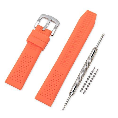 Vinband Cinturini Orologi Alta qualità Orologi Bracciale in Caucciù - 16mm, 18mm, 20mm, 22mm, 24mm Gomma Cinturino Orologio Fibbia Dell'acciaio Inossidabile Spazzolato (16mm, arancione)
