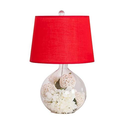 Lampada de desk Lampada da tavolo creatività con paralume in tessuto Bedroom Comodissimo lampada da letto con lampada artificiale Ortensia decorazione floreale in vetro trasparente per camera da letto