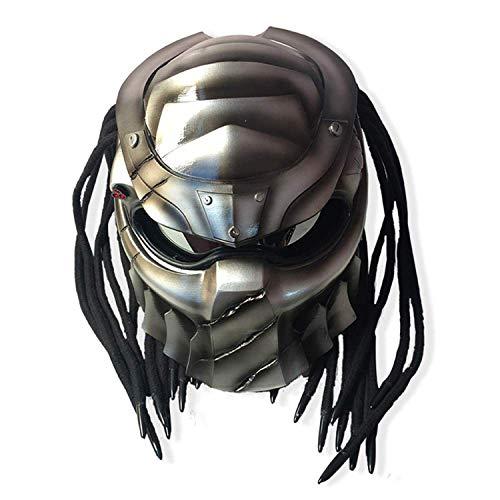 Vintage Motorrad Integralhelm, Jagged Warrior Predator Motocross Helm, Reiten Erwachsene Unisex, Cross-Country LED-Licht Persönlichkeit Helm,XXL