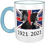 Taza Queen Elizabeth II y Prince Philip en la bandera británica, 1921-2021, azul cielo