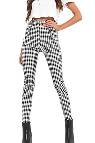 Women Vintage High Waisted Pants Zip up Checkered Pencil Pants Black S