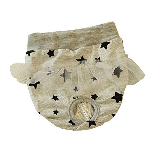 Pantalones fisiológicos Reutilizables Lavables para Perros de algodón, Ropa Interior Encantadora para Cachorros pequeños para Perros y Gatos, elástica Transpirable (Color : Gray, Size : Small)
