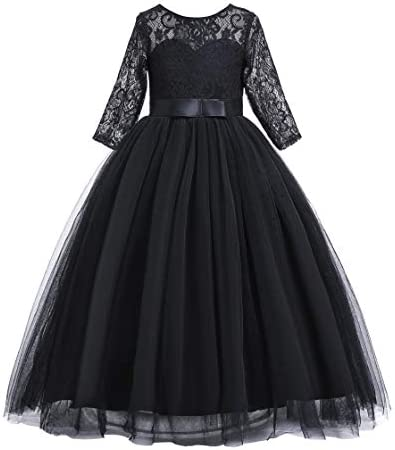 Glamulice New Year Flower Girl Lace Sleeves Dress Princess Wedding Birthday Party Maxi Gown product image