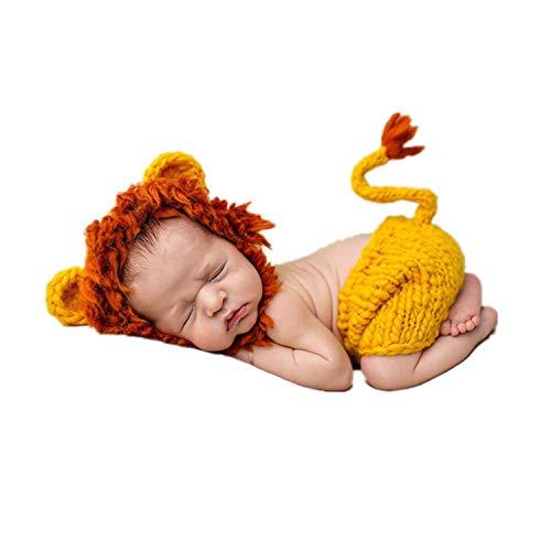 Goldenweek Lindo León Ropa Bebé Sombreros Pantalones Bebé Traje de Fotografía Props Crochet Recién Nacido Ropa de Punto para Bebé 0-3 Meses