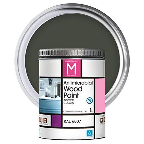Pintura para muebles | Color Verde botella | 1 L | Pintura Interior RAL 6007 | Laca para Madera Antimicrobios | Protege y Embellece la Madera de los Muebles | Aspecto Cálido y Satinado