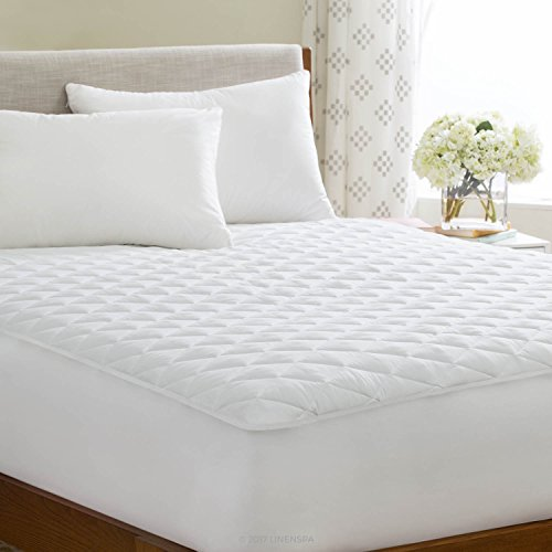 LINENSPA Waterproof Quilted Mattress Pad - Hypoallergenic Fill - Deep Pocket Fitted Skirt,Queen