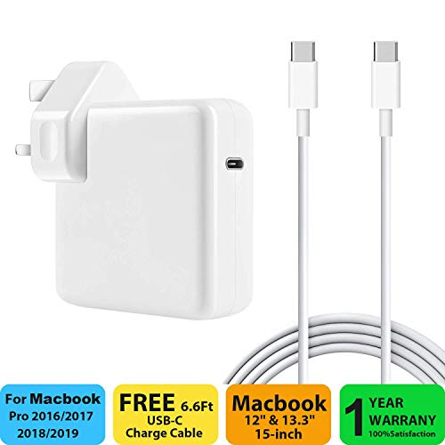 SIXNWELL 87W USB C Power Adapter Compatible with Macbook Pro / Air Charger, Works With USB-C 87W 61W & 30W Power Delivery Fast Charging For Macbook Pro 13'' 15'' 2016Late MacBook Air with Cable