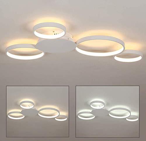Luz de techo LED Cuarto de baño Cocina Dormitorio LED Luz de techo de 4 anillos Lámpara de techo moderna Dimmable con control remoto Diseño redondo Iluminación de techo Blanco Acrílico Lámpara Metal S