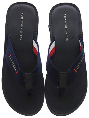 Tommy Hilfiger Herren ELEVATED LEATHER BEACH SANDAL Zehentrenner, Blau (Midnight 403), 42 EU