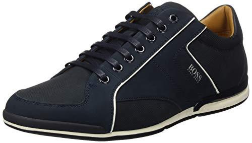 BOSS Herren Saturn Lowp Sneakers aus verschiedenen Ledern mit perforierten Details Größe 43