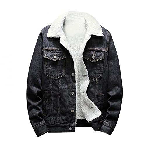 XUNFUN Sherpa Fleece Lined Jean Jacket for Men Slim Fit Thicken Warm Cotton Denim Trucker Jacket Winter Coat with Fur Collar(Grey,Small)