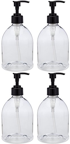 (4 Pack with Patented Screw-On Funnel) Earth's Essentials Versatile 16 Ounce PET Plastic Refillable Designer Pump Bottles. Excellent Liquid Hand Soap, Lotion, Shampoo and Massage Oil Dispensers