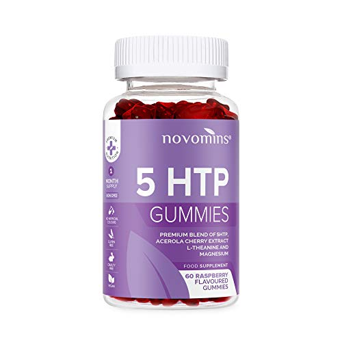 5 HTP Gummies - 5 HTP Maximum 5 HTP Supplement with L-Theanine, Magnesium, Vitamin B12, Glycine - 60 Raspberry Natural 5 HTP Gummies Alternative to 5HTP Capsules Pills - Made in UK by Novomins