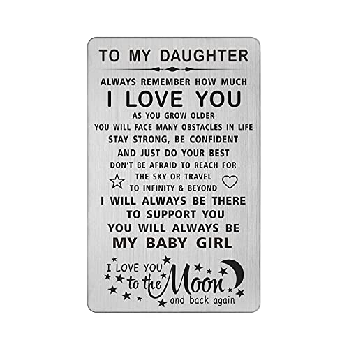 TANWIH Daughter I Love You Gifts Engraved Wallet Card, You Will Always Be My Baby Girl, To My Daughter Birthday Graduation Christmas Wedding Gifts from Mom Dad