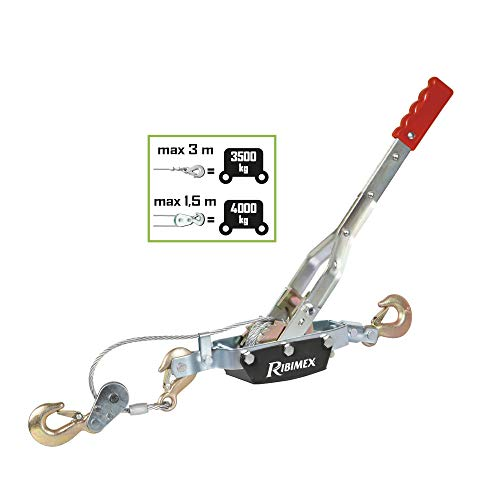 Ribitech 06563 Treuil manuel horizontal 4t cable 6mm, Argent