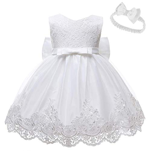 Girls Dress&Skirt,Baby Girls Lace Bowknot Princess Wedding Formal Tutu Dress+Headband Set Clothes,Flower Girl Dresses For Weddings(White-18-24 Months)