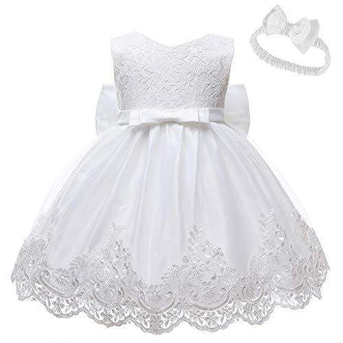 yuyuanDO Robe Bapteme Fille Bebe + Bandeaux Noeud Robe Fille Ceremonie Mariage Princesse...