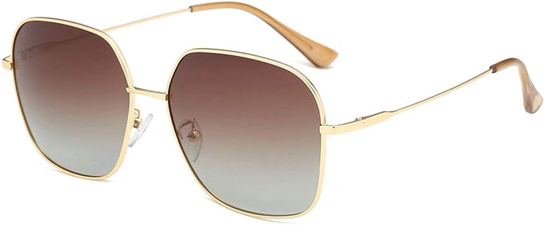 Sunglasses Retro Polarized Rectangular Metal Frame UV Predection Sunglasses (color   Yellow, Size   Casual Size)