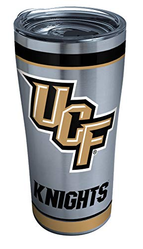 Tervis UCF Knights Tradition Stainless Steel Insulated Tumbler with Clear and Black Hammer Lid, 20 oz, Silver