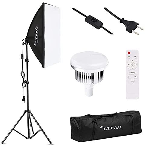 LTPAG Softbox Kit Illuminazione Fotografica 50x70cm, 20x28 'Luci a LED Regolabili con Temperatura Colore Regolabile con Telecomando Kit Spina Elettrica 95W E27
