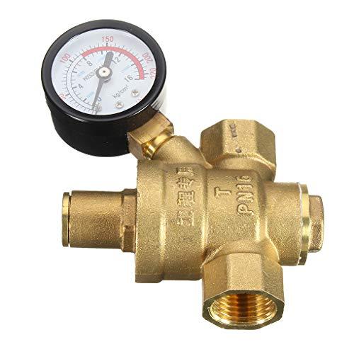 Simiday Hohe Qualität DN15 NPT Messing Wasserdruckregler Wasserdruckminderer 1/2-Zoll-Adjustable Wasserdruckregler Reducer und Lehren-Messinstrument