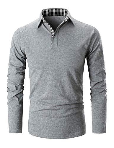 Musen Men Short Sleeve Polo Shirt Causal Slim Fit Glof Polo Shirts with Plaid Collar (Gray, X-Large)