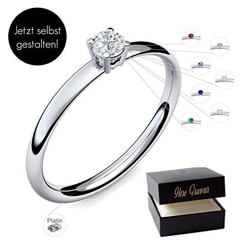 Verlobungsring Platin 950 PERSONALISIERT + ETUI mit individueller GRAVUR Damen-Ring Heiratsantrag Diamant-Ring Zirkonia Aquamarin Rubin Smaragd Saphir Brillant Blautopas Edelstein