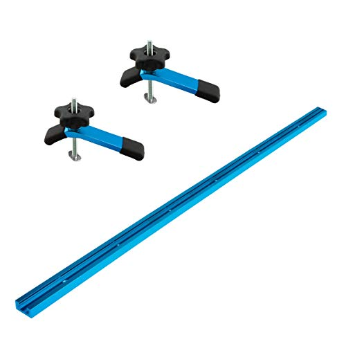 POWERTEC 71169 48-Inch Universal T-Track with 2 Hold-Down Clamps, anodized blue