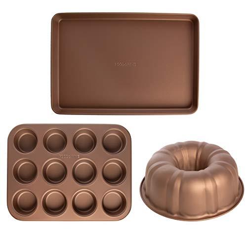 Food & Wine (3 Piece) Nonstick Bakeware Set Bundt Cake Pan Muffin Tin Baking Sheet Pan Oven Trays Non Stick Kitchen Bake Set