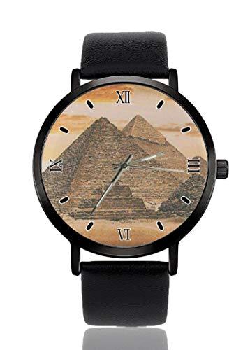 PALFREY Vintage Gran Pirámide Egipcia Relojes de Pulsera de Negocios Casual Deporte Reloj de Cuarzo para Mujeres Hombres Impermeable Unisex Reloj