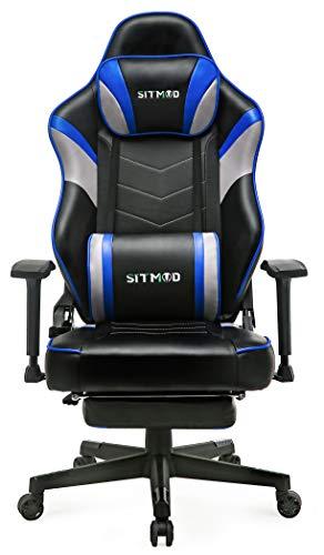 SITMOD Sedia Gaming Ergonomica con Poggiapiedi, Sedia da Ufficio con Supporto per Massaggio Lombare, Sedia Gaming con Braccioli in Stile da Corsa con Schienale Alto in Pelle,Blu