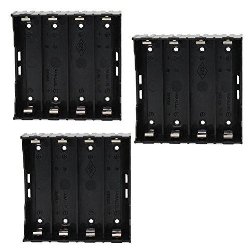 KEESIN 3.7V 18650 Batteriehalter Fall Kunststoff Batterie Abdeckung Aufbewahrungsbox mit Pin (4 Solts × 3 Stück)