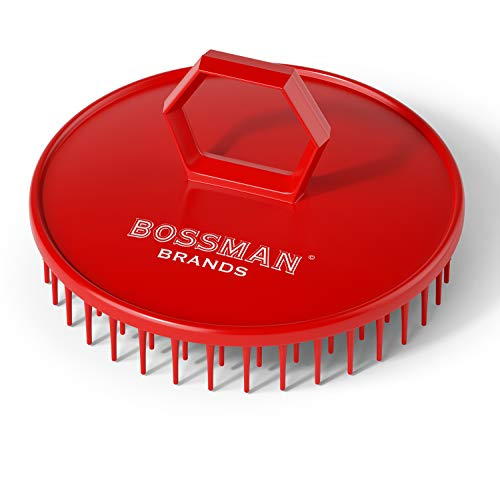 Bossman Hair Scalp Massager and Shampoo Shower Brush (Red)