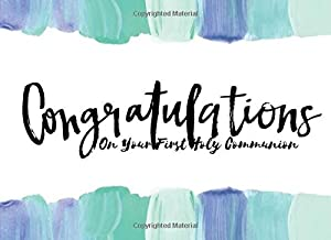 """Congratulations On Your First Holy Communion: Blue Guestbook Message Book 