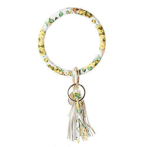 Dragonaur Schlüsselanhänger, raffiniert, praktisch, Damen, Kunstleder, O-Schlüsselanhänger, Kreis, Quaste, Armband, Schlüsselring, Armreif, Weiß + Gelb