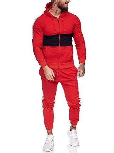 OneRedox | Herren Trainingsanzug | Jogginganzug | Sportanzug | Jogging Anzug | Hoodie-Sporthose | Jogging-Anzug | Trainings-Anzug | Jogging-Hose | Modell JG-1081 Rot-Schwarz L