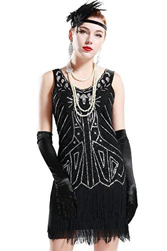 BABEYOND Años 20 Estilo Vintaje Vestido con Cuello en V Gatsby Disfraz Vestido con Flecos de Lentejuelas (Negro, M)
