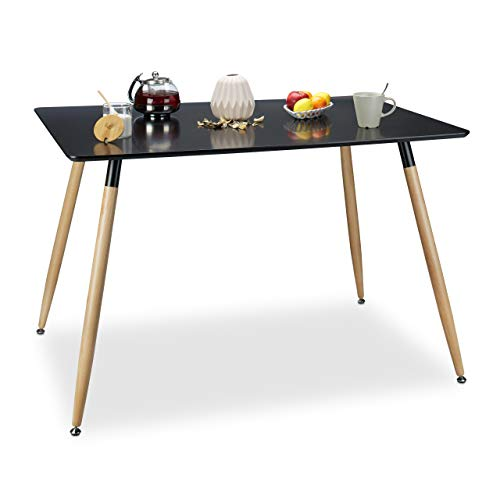 Relaxdays Table à manger ARVID rectangle table de salon table appoint en bois HxlxP: 75 x 120 x 80 cm design scandinave nordique, noir