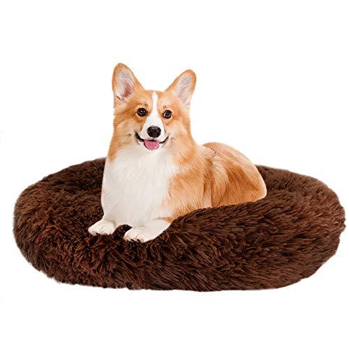 Lukovee Cama para mascotas, bonita cama para mascotas, sofá para perros y gatos, cojín para donuts, cojín de peluche suave y cálido, con esponja antideslizante (XL (diámetro de 80 cm), color marrón