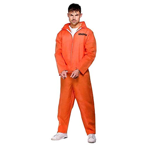 FANCY DRESS ADULT PRISONER OVERALL ORANGE XL SIZE by Henbrandt