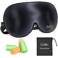 Schlafmaske, Gritin Augenmaske Nachtmaske Verstellbarem Gummiband 100% Hautfreundlich Seide Geruchneutral Schlafbrille mit Ohrstöpseln und Tragbare Tasche