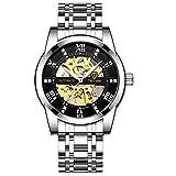 JTTM Relojes, Relojes Hombre Mecánico Automático Estilo Clásico Impermeable Números Esfera con Correa De Acero Inoxidable,Silver Black