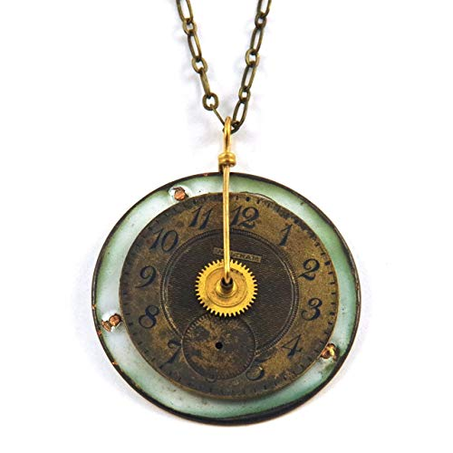Steampunk Necklace - Two Vintage Antique Pocket Watch Dials Back to Back - Waltham
