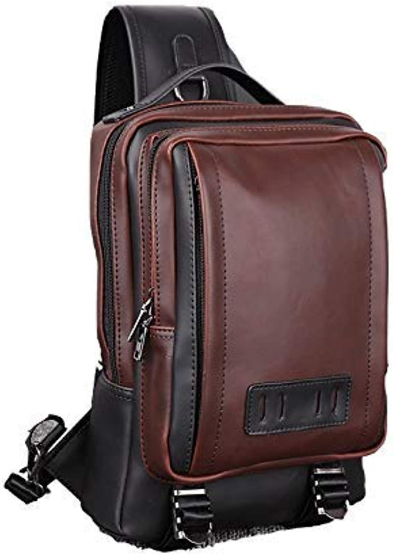 Chest Bag Home Herren Casual PU Leder Brusttasche Multifunktions Outdoor Sports Umhngetasche Mode Schulter Messenger Rucksack (Kaffee)