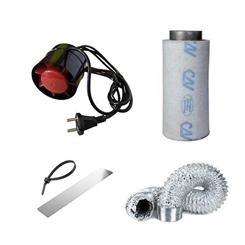 Abluft-Set Air Set Belüftung 100 mm Rohrventilator 135cbm/h AKF 150 CBM/h Grow
