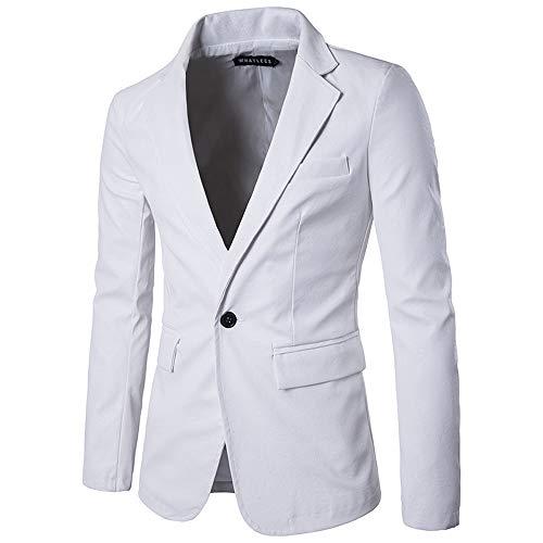 manadlian Veste Homme Blazer en Cuir Casual Elegant Slim Fit Blazer Un Bouton Vestes de Costume Hommes Jacket Fête Soirée Pull