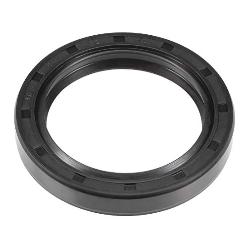 uxcell Oil Seal, TC 50mm x 68mm x 10mm Nitrile Rubber Cover Double Lip with Spring for Automotive Axle Shaft, Black Pack of 1
